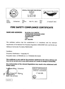 Fire Safety Compliance certificate